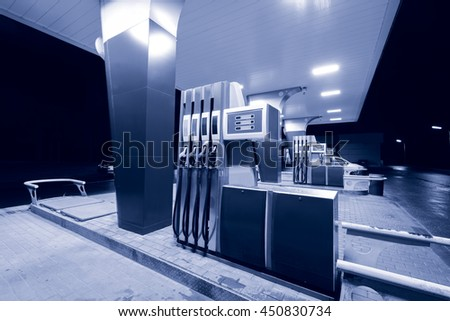 Night view of the territory of the gas station. - stock photo