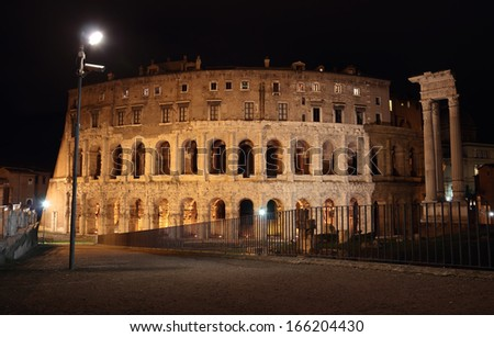 Night view of the Theatrum of Marcellus, ancient open-air theater in Rome, Italy