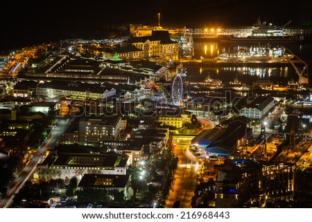 Night View of the Victoria and Albert Waterfront, Cape Town, South Africa
