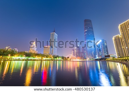 night view of tianjin , beautiful  haihe river with central business district, China