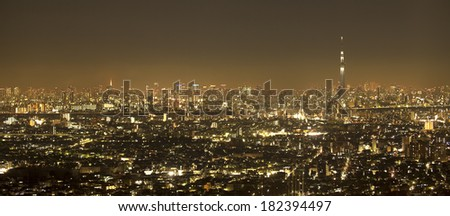 Night view of Tokyo lights