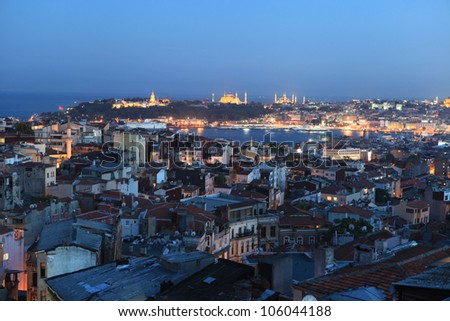 Night view of Topkapi Palace - stock photo