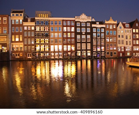 Night view of traditional building of Amsterdam, the Netherlands