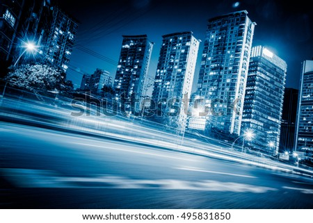 night view of urban traffic with cityscape in Shanghai,China.