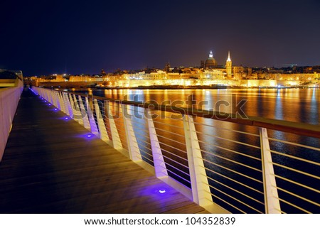 Night view of Valletta from Sliema. Valletta with Our Lady, Malta