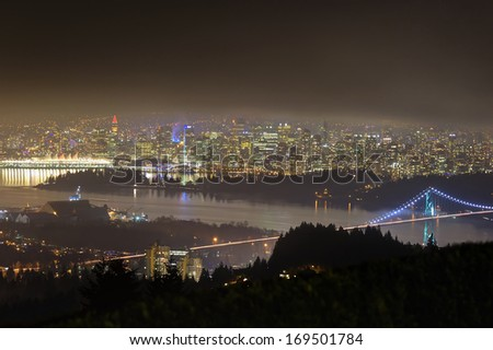 Night view of Vancouver, Canada - stock photo