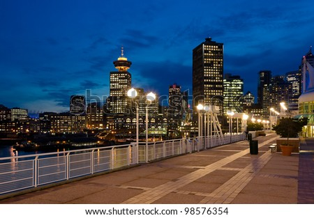 Night view of Vancouver down town. BC , Canada. - stock photo