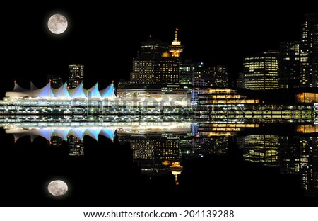 Night view of Vancouver downtown from Stanley park. Canada.  - stock photo