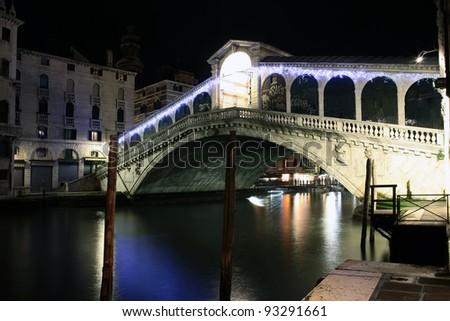 Night view of Venice the Rialto bridge - stock photo