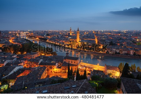Night view of Verona, Italy