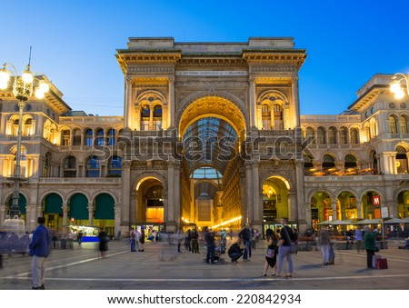 Night view of Vittorio Emanuele II Gallery in Milan, Italy - stock photo