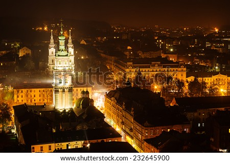 Night view of weatern european city Lviv, architecture background