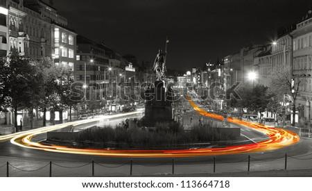 Night view of Wenceslas Square, Prague, Czech republic - stock photo