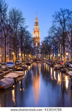 Night view of Zuiderkerk in Amsterdam, The Netherlands. - stock photo