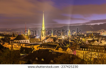 Night view of Zurich city center - Switzerland - stock photo