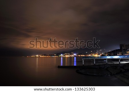 Night view on Black Sea coastline in Adler, Russia