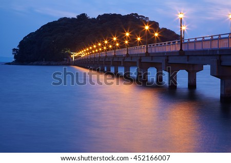 Night view on bridge from Take Island to Gamagori, Aichi prefecture, Japan