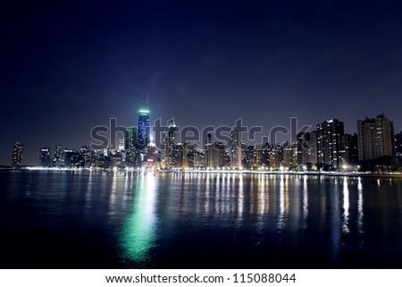 Night View On Chicago Skyline - stock photo