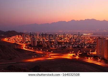 Night view on Eilat (Israel) - stock photo