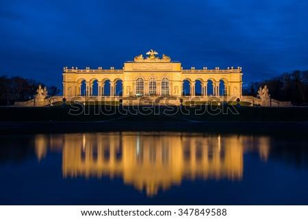 Night View on Gloriette structure in Schonbrunn Palace, Vienna, Austria - stock photo