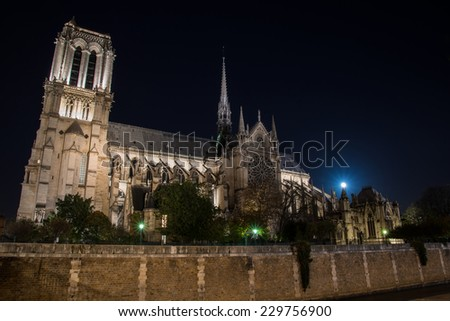 Night view on illuminated Notre Dame cathedral in Paris - stock photo