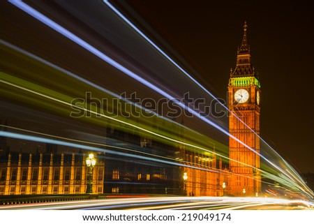 NIght view on London most famous landmark Big Ben and Parliament House on river Thames - stock photo