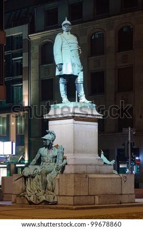 Night view on monument to Otto von Bismarck in Dusseldorf, Germany - stock photo