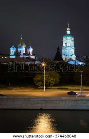 Night view on Novospassky monastery from embankment of the river in the night - stock photo