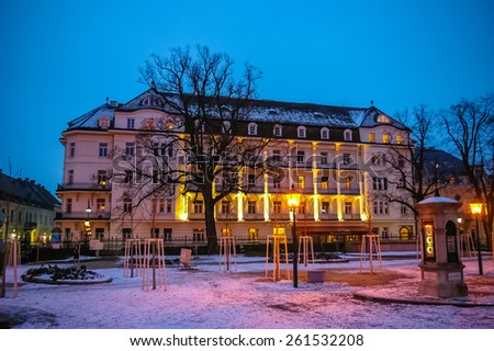 Night view on residential building at winter in Baden bei Wien, Austria - stock photo