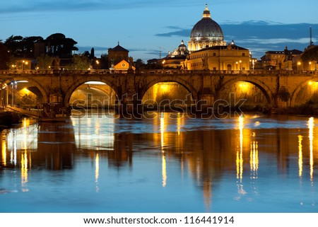 Night view on Rome and Vatican over the Tiber river. - stock photo