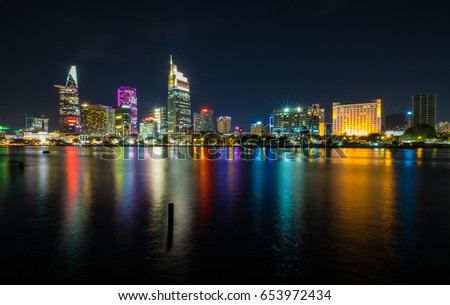 Night view on Sai Gon river. Ho Chi Minh city, Viet Nam