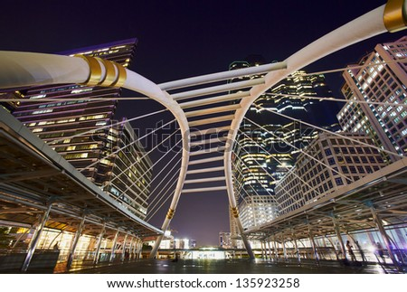 Night view on the Bangkok city train station - stock photo