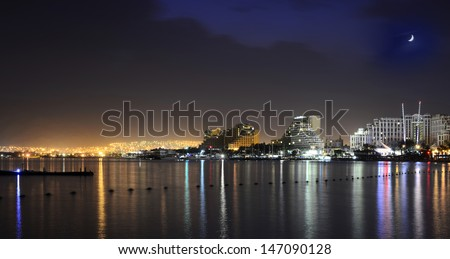 Night view on the central beach of Eilat, Israel