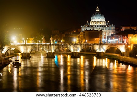 Night view on the Sant' Angelo Bridge and Basilica of St. Peter in Rome, Italy - stock photo