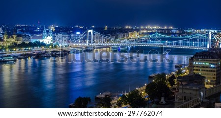 Night view over danube river in budapest taken from the gallery of buda castle. - stock photo