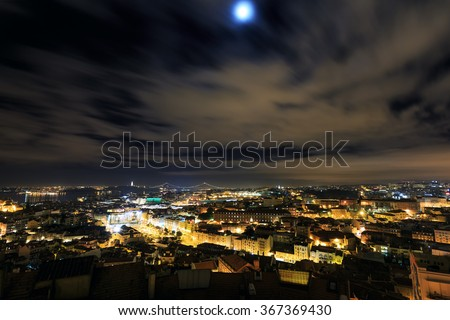 Night view over Lisbon, Portugal