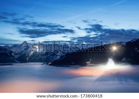 Night view over Zell am See/Kaprun, Austria  - stock photo