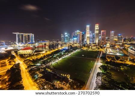 Night view, Singapore - stock photo