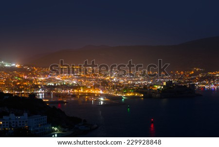 Night view to the bay and the cityscape of Bodrum - stock photo