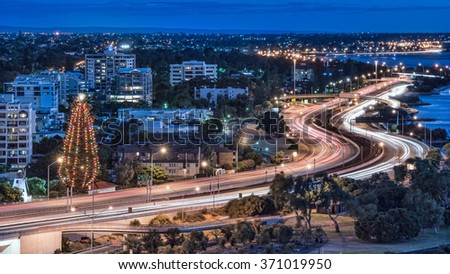 Night view with light trails in Perth, Australia - stock photo