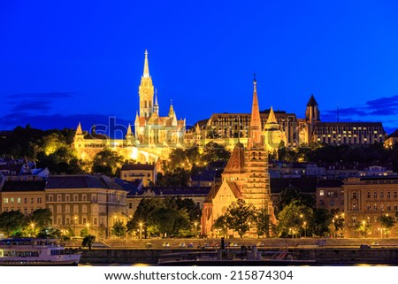 Night View with Matthias Church in Budapest, Hungary - stock photo