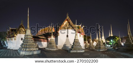 Night Wat Po, The Temple of reclining buddha, Bangkok, Thailandia. - stock photo