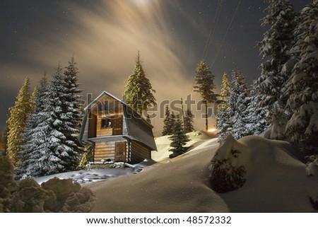 Night winter landscape - stock photo