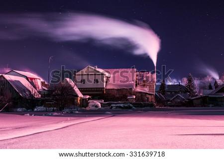 night winter rural landscape long exposure - stock photo