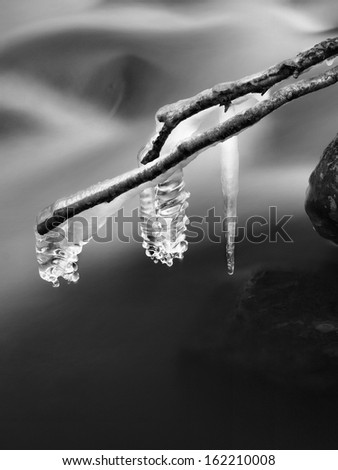 Night winter view to icicles on twigs and icy boulders above rapid stream. Reflections of head lamp in icicles. Black and white photo. - stock photo