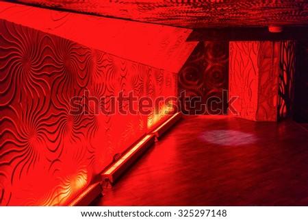 nightclub hall with a bright red illumination - stock photo