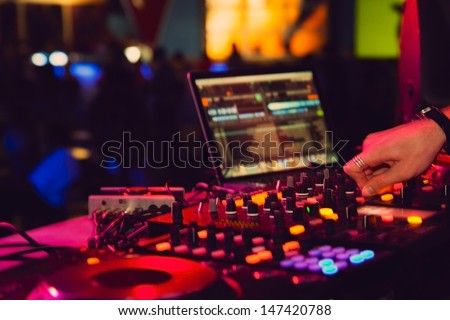 nightclub parties DJ. sound equipment - stock photo