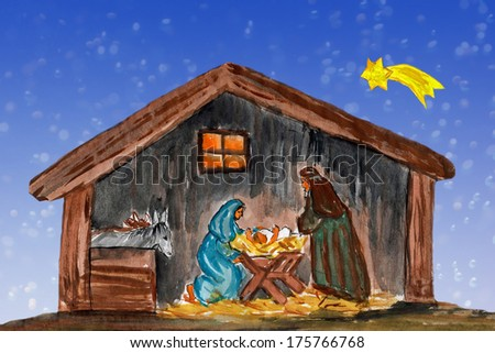 Nightly christmas scenery: mary and joseph in a manger with baby Jesus in the crib, watercolor painting - stock photo