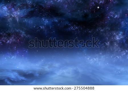nightly sky, space background - stock photo