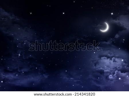Nightly sky with stars - stock photo
